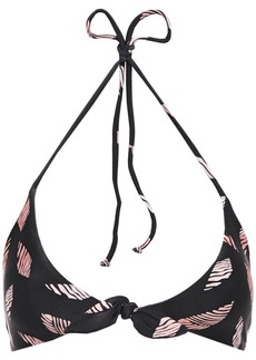 Vix Paula Hermanny Woman Dolce Retro Knotted Printed Bikini Top Black