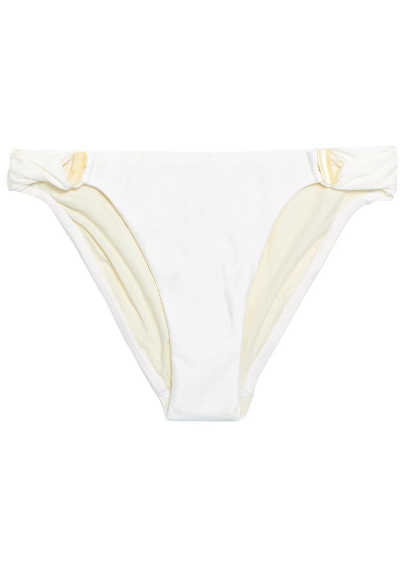 Vix Paula Hermanny Woman Embellished Cutout Low-rise Bikini Briefs Off-white