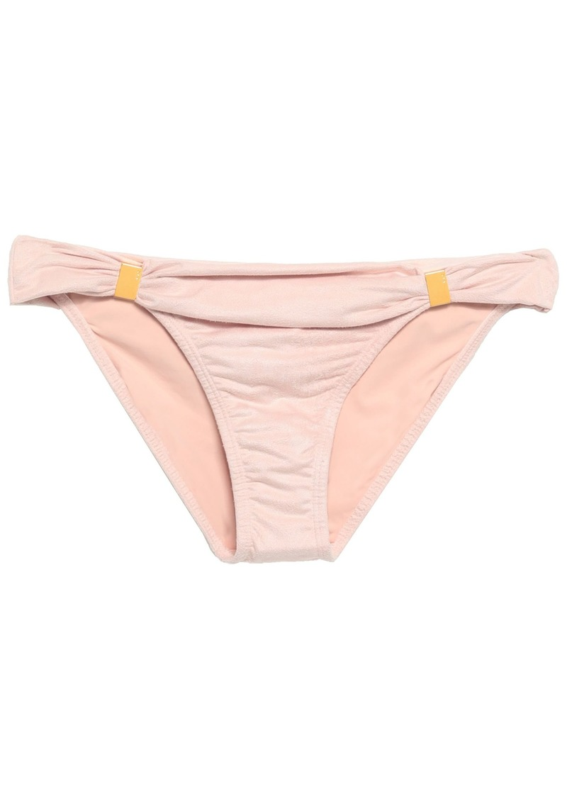 Vix Paula Hermanny Woman Embellished Faux Suede Low-rise Bikini Briefs Baby Pink