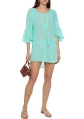 Vix Paula Hermanny Woman Embroidered Cotton-gauze Coverup Turquoise