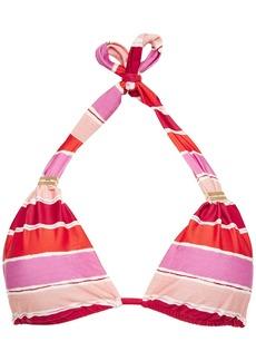 Vix Paula Hermanny Woman Eva Bia Gathered Striped Triangle Bikini Top Pink