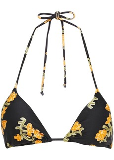 Vix Paula Hermanny Woman Floral-print Triangle Bikini Top Black