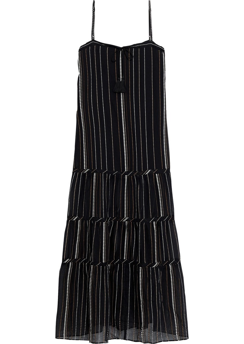 Vix Paula Hermanny Woman Fran Tiered Embroidered Cotton-voile Maxi Dress Black