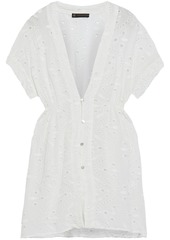 Vix Paula Hermanny Woman Fuji Gathered Broderie Anglaise Voile Coverup Off-white