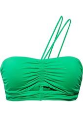 Vix Paula Hermanny Woman Georgia One-shoulder Ruched Cutout Bikini Top Bright Green