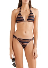 Vix Paula Hermanny Woman Isabela Bia Striped Low-rise Bikini Briefs Navy
