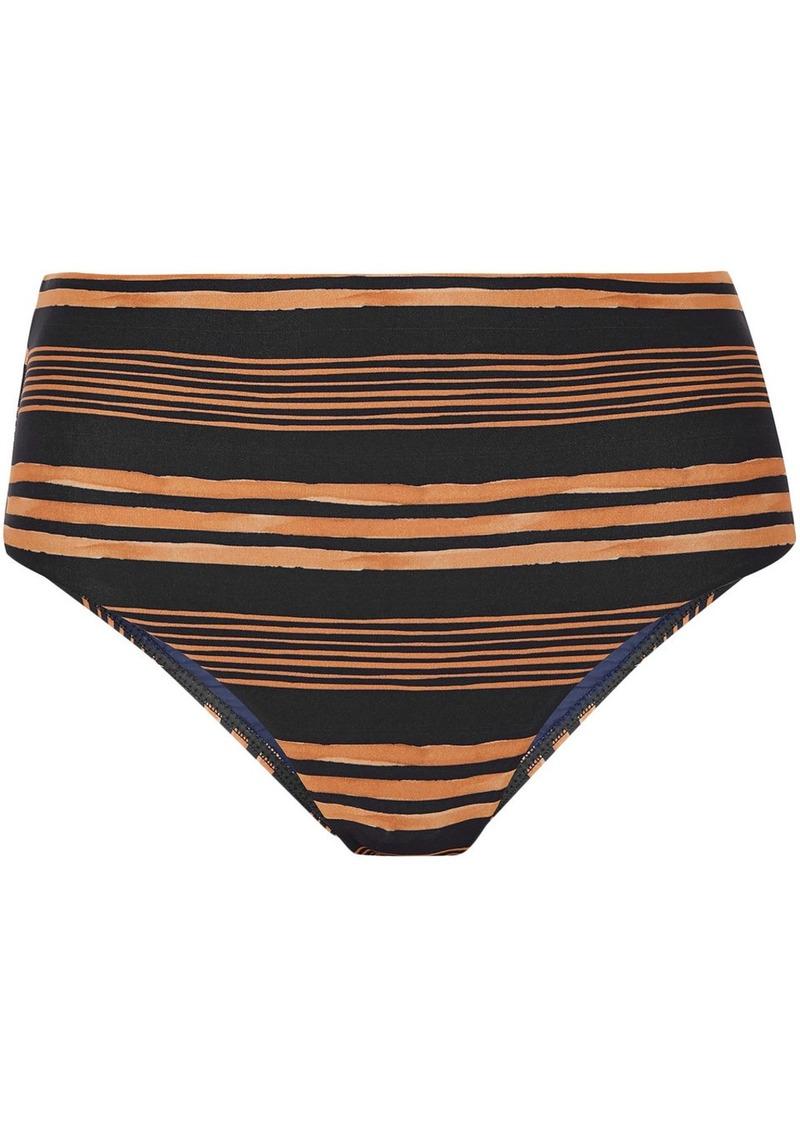 Vix Paula Hermanny Woman Isabela Striped High-rise Bikini Briefs Navy