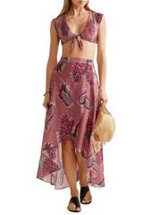 Vix Paula Hermanny Woman June Printed Cotton And Silk-blend Maxi Wrap Skirt Antique Rose