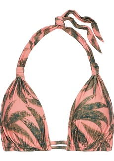 Vix Paula Hermanny Woman Knotted Printed Triangle Bikini Top Peach