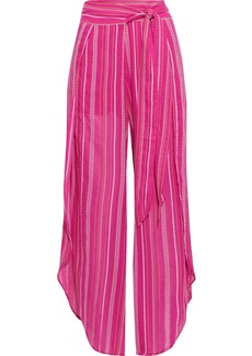 Vix Paula Hermanny Woman Liz Belted Embroidered Cotton-voile Wide-leg Pants Fuchsia
