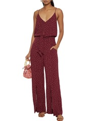 Vix Paula Hermanny Woman Lola Nora Belted Polka-dot Voile Wide-leg Jumpsuit Burgundy