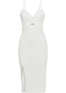 Vix Paula Hermanny Woman Lora Cutout Crinkled Cotton-voile Midi Dress Off-white