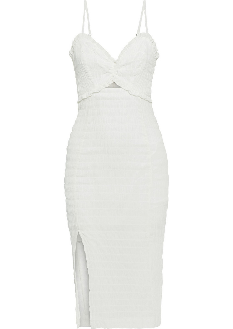 Vix Paula Hermanny Woman Lora Cutout Crinkled Cotton-voile Midi Dress Off-white