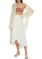 Vix Paula Hermanny Woman Luma Lattice-trimmed Linen-blend Midi Wrap Skirt Off-white