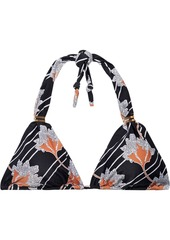 Vix Paula Hermanny Woman Margot Bia Floral-print Triangle Bikini Top Black