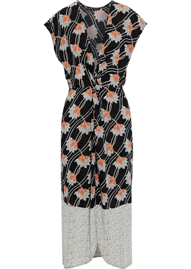Vix Paula Hermanny Woman Margot Celina Wrap-effect Paneled Printed Voile Kaftan Black