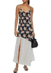 Vix Paula Hermanny Woman Margot Erin Paneled Printed Voile Maxi Dress Black