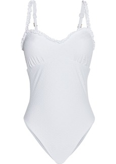Vix Paula Hermanny Woman Margot Ruffle-trimmed Broderie Anglaise Swimsuit White