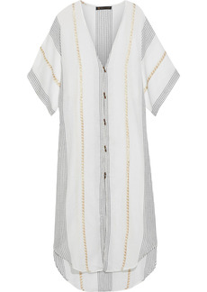 Vix Paula Hermanny Woman Metallic-trimmed Embroidered Cotton-gauze Kaftan Off-white