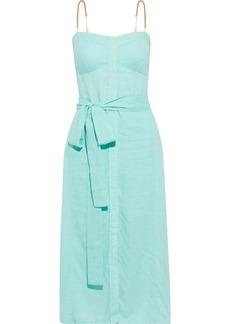 Vix Paula Hermanny Woman Nidia Belted Shirred Linen-blend Voile Midi Dress Mint