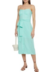 Vix Paula Hermanny Woman Nidia Belted Shirred Linen-blend Voile Midi Dress Mint