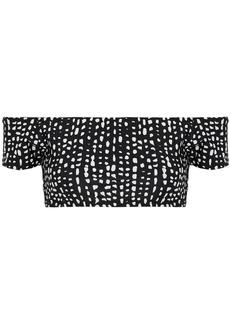 Vix Paula Hermanny Woman Dot Printed Off-the-shoulder Bikini Top Black