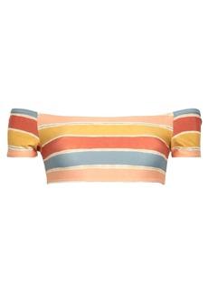 Vix Paula Hermanny Woman Off-the-shoulder Striped Bikini Top Multicolor