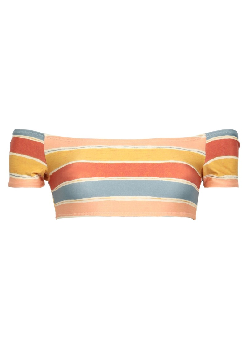 Vix Paula Hermanny Woman Off-the-shoulder Striped Bikini Top Multicolor