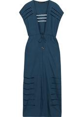 Vix Paula Hermanny Woman Pamela Tie-front Crochet-trimmed Voile Kaftan Storm Blue