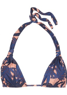 Vix Paula Hermanny Woman Paradise Bia Knotted Printed Triangle Bikini Top Navy