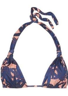 Vix Paula Hermanny Woman Paradise Bia Knotted Printed Triangle Bikini Top Navy
