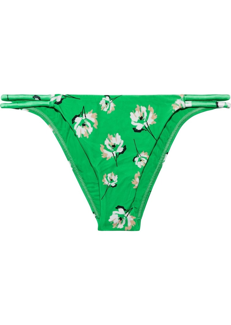 Vix Paula Hermanny Woman Petals Twine Floral-print Low-rise Bikini Briefs Green