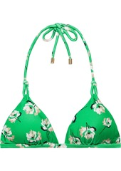 Vix Paula Hermanny Woman Petals Twine Knotted Floral-print Triangle Bikini Top Green
