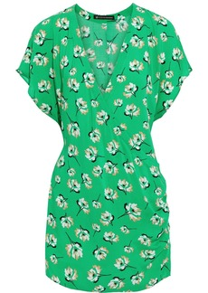 Vix Paula Hermanny Woman Petals Way Wrap-effect Floral-print Voile Mini Dress Green