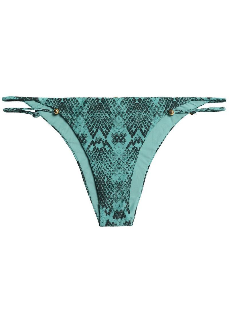 Vix Paula Hermanny Woman Piercing Snake-print Low-rise Bikini Briefs Jade