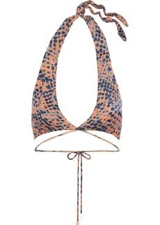 Vix Paula Hermanny Woman Printed Halterneck Wrap Bikini Top Peach