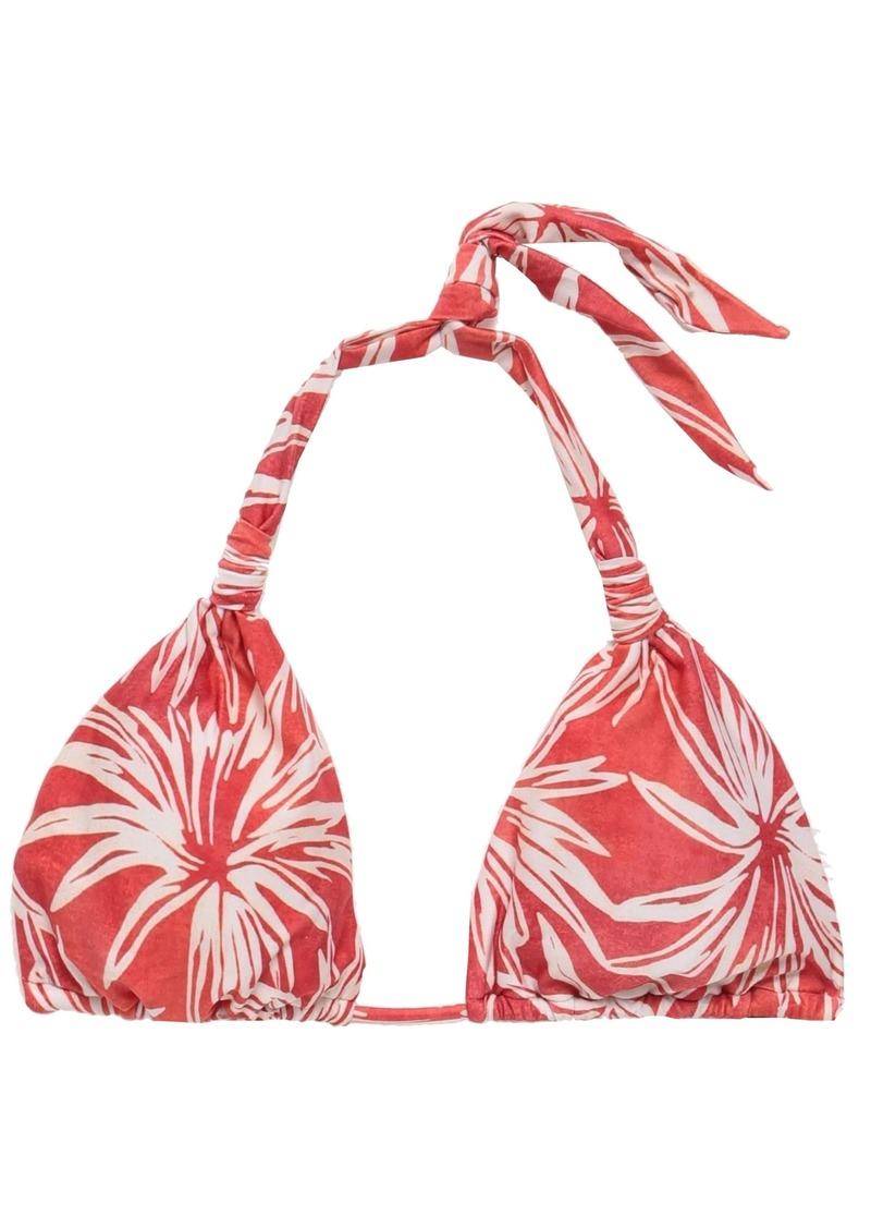 Vix Paula Hermanny Woman Printed Triangle Bikini Top Coral