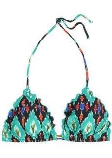 Vix Paula Hermanny Woman Ripple Printed Low-rise Bikini Briefs Turquoise