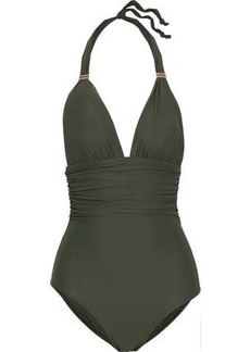 Vix Paula Hermanny Woman Ruched Halterneck Swimsuit Army Green