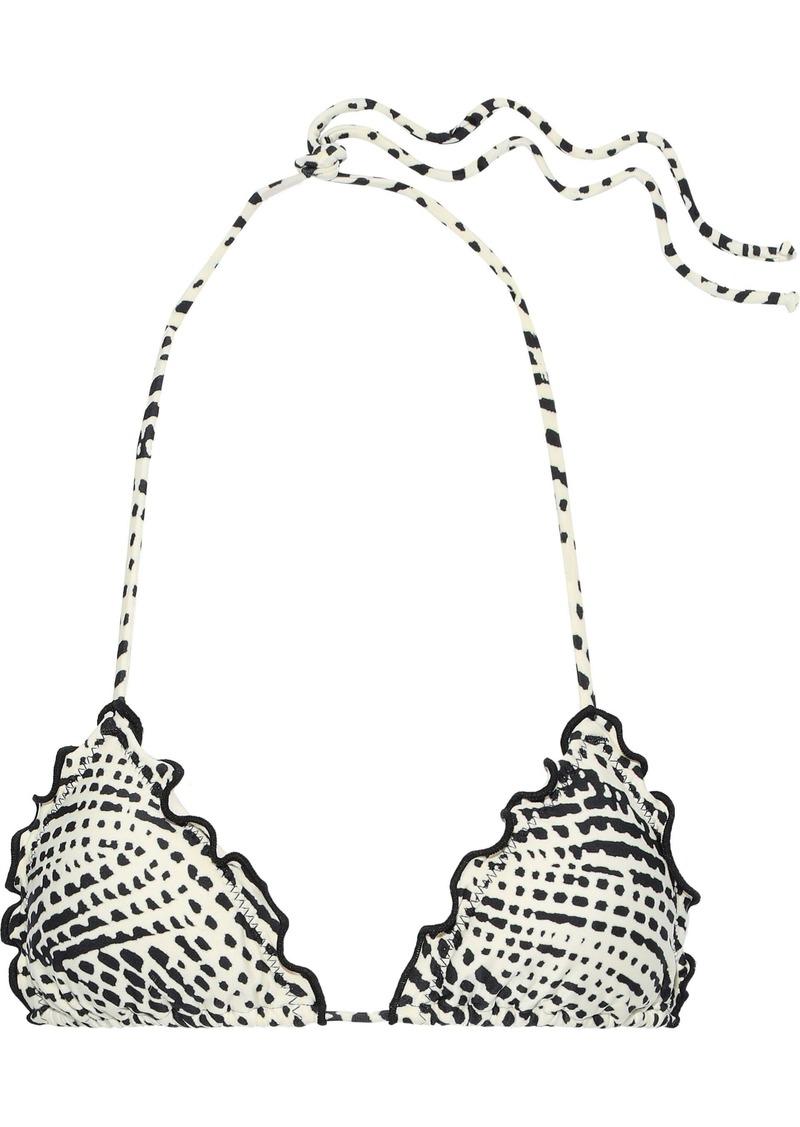 Vix Paula Hermanny Woman Ruffle-trimmed Printed Triangle Bikini Top Black
