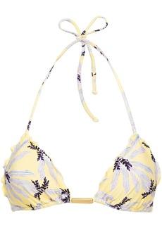 Vix Paula Hermanny Woman Ruffle-trimmed Printed Triangle Bikini Top Pastel Yellow