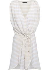 Vix Paula Hermanny Woman Striped Cotton-blend Gauze Coverup Off-white