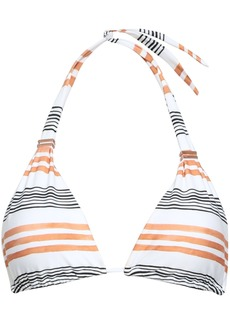 Vix Paula Hermanny Woman Striped Halterneck Bikini Top White