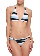 Vix Paula Hermanny Woman Striped Triangle Bikini Top Blue