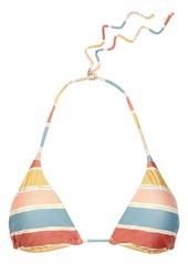 Vix Paula Hermanny Woman Striped Triangle Bikini Top Peach
