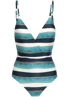 Vix Paula Hermanny Woman Wrap-effect Striped Swimsuit Multicolor