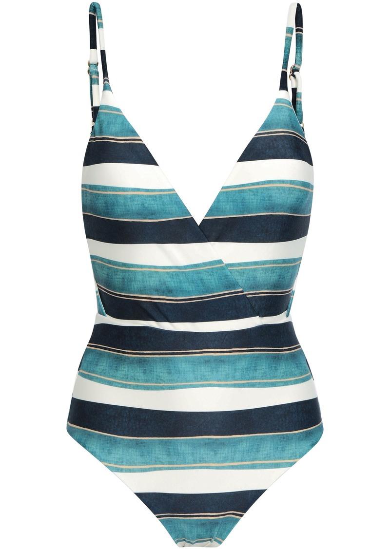 Vix Paula Hermanny Woman Wrap-effect Striped Swimsuit Multicolor