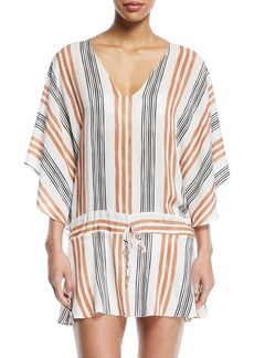 Vix Potosi V-Neck Long-Sleeve Striped Coverup Tunic