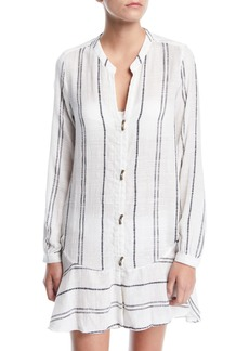 Vix Steph Striped Long-Sleeve Coverup Shirtdress