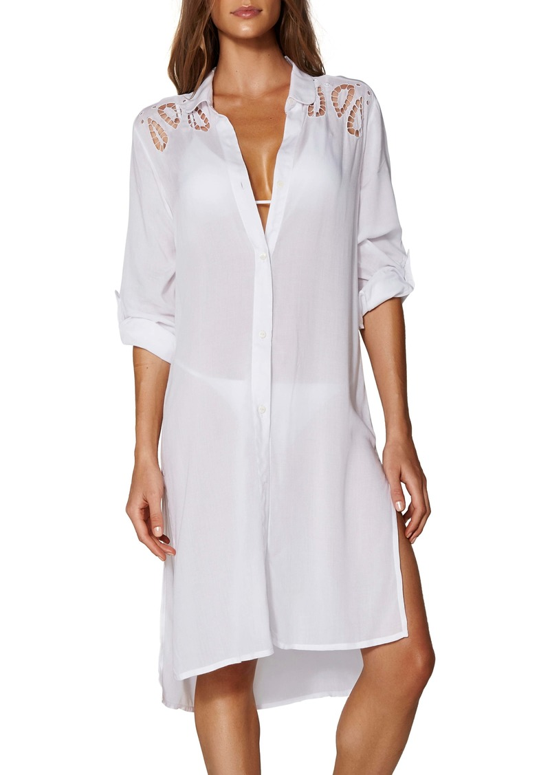 ViX Swimwear Ada Embroidered Lace Cover-Up Shirtdress